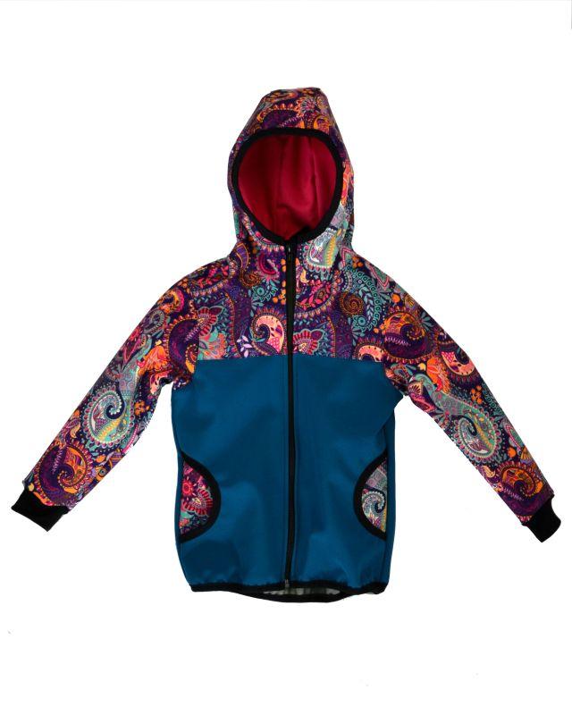 Softshellová bunda petrolej s ornamentmi zimná, veľ. 80-116