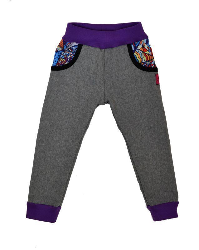 Detské nohavice softshellové - šedá/bláznivé trojuholníky/fialová