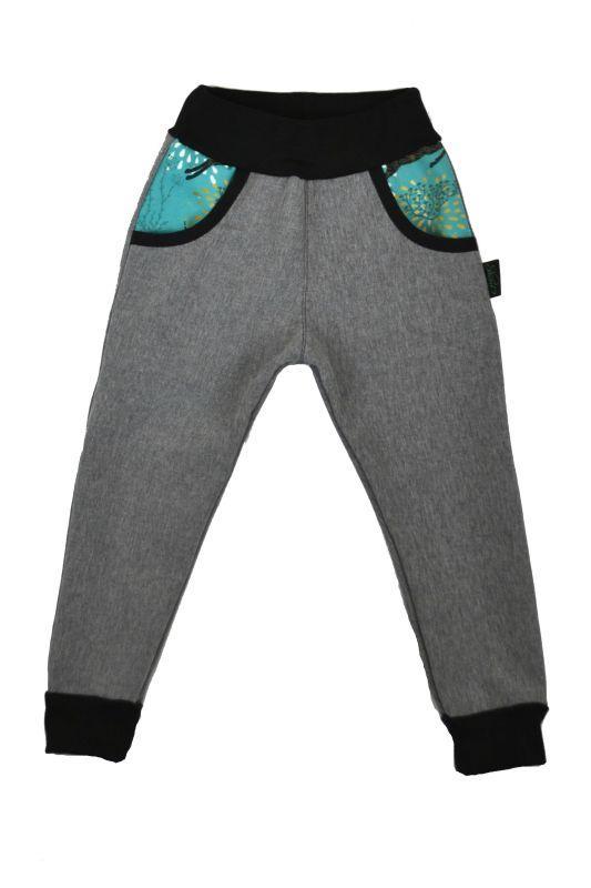 Detské nohavice softshellové - šedé s jeleňmi