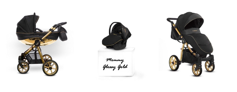 Detský kombinovaný kočík Baby Active Mommy Glossy Black - Gold (2-kombinácia)