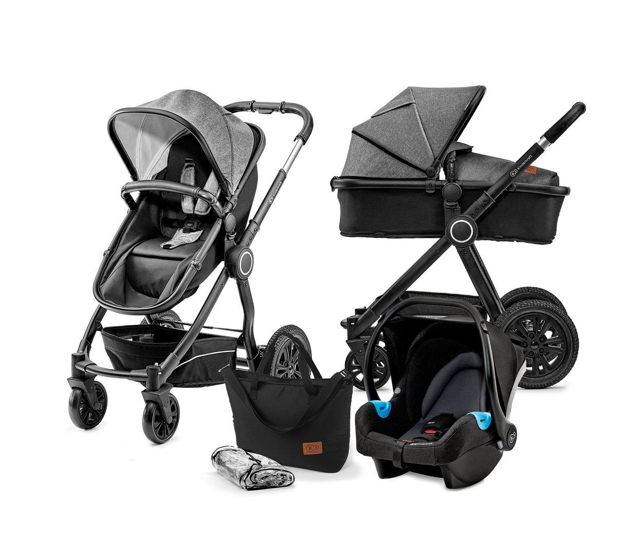 Kombinovaný kočík 3v1 Kinderkraft Veo - black/grey