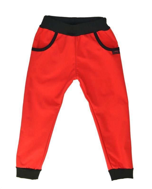 Detské softshellové nohavice - červené, veľ. 120-134
