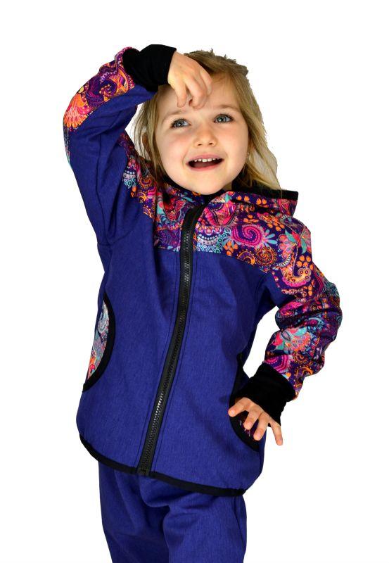 Dětská Softshellová bunda modrofial.s ornamentmi zimná, veľ. 140-152
