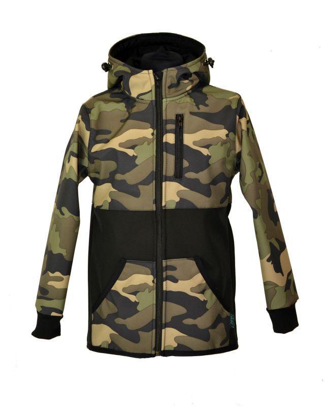 Softshellová bunda - khaki maskáč - zimná, veľ. 140-152