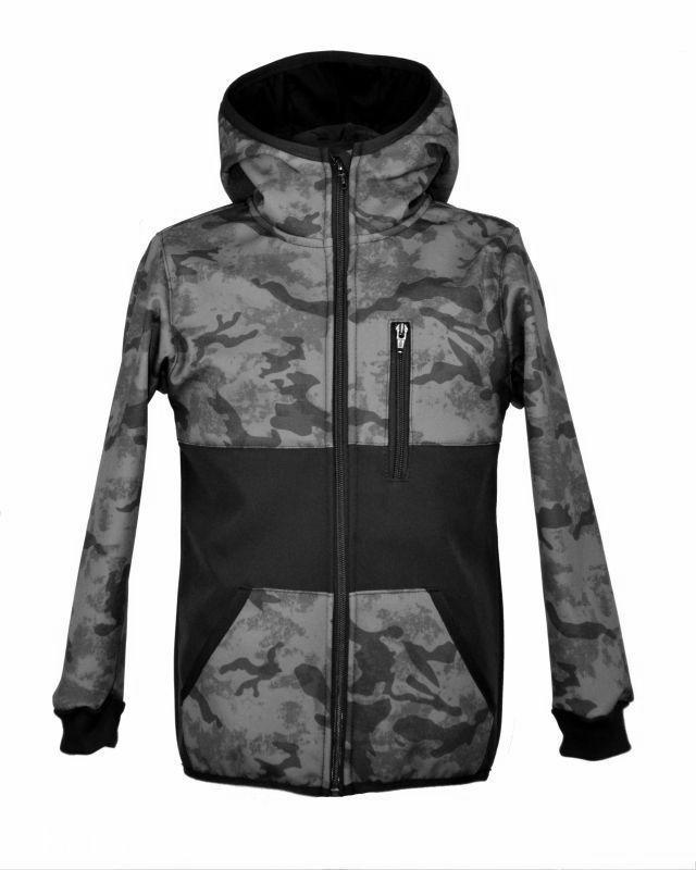 Softshellová bunda - šedý maskáč- so zapínacím vreckom zimná, veľ.140-152