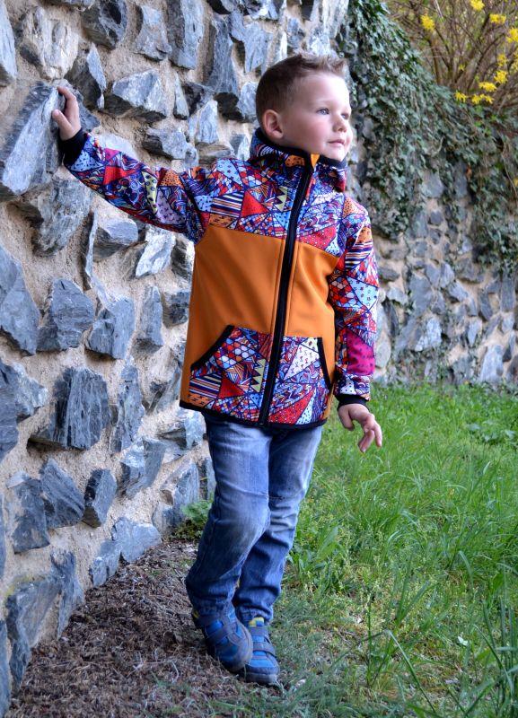 Softshellová bunda -med/bláznivé trojuholníky-zimná, veľ. 122-134