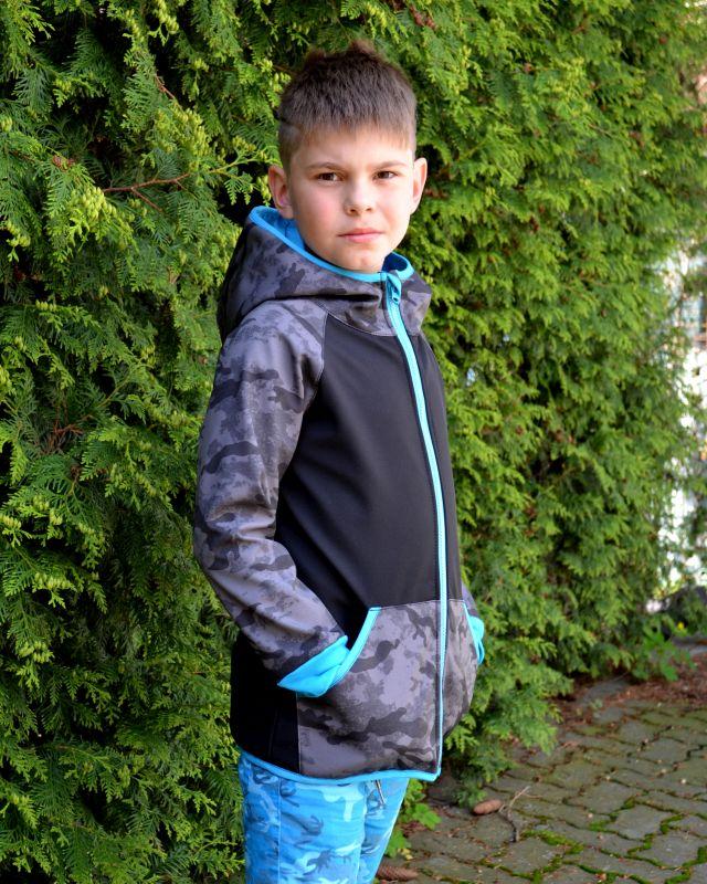 Softshellová bunda -šedý maskáč-tyrkys doplnky- zimná, veľ. 140-152