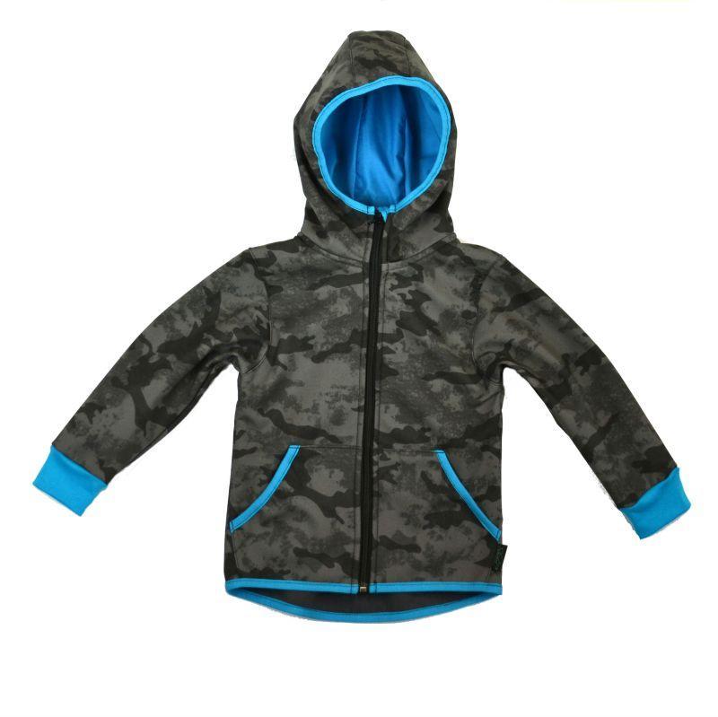 Softshellová bunda maskáčová s tyrkys. zimná, veľ. 140-152