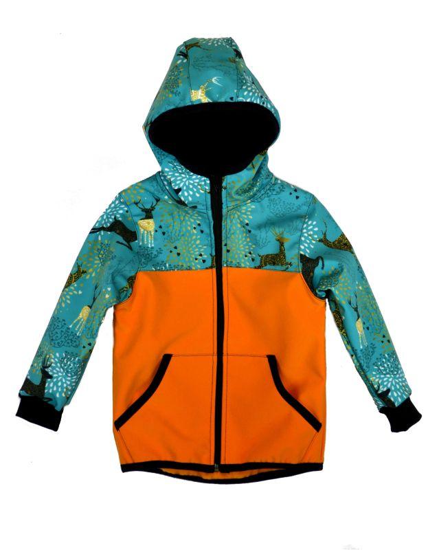 Softshellová bunda medová s jeleňmi zimná, veľ. 122-134