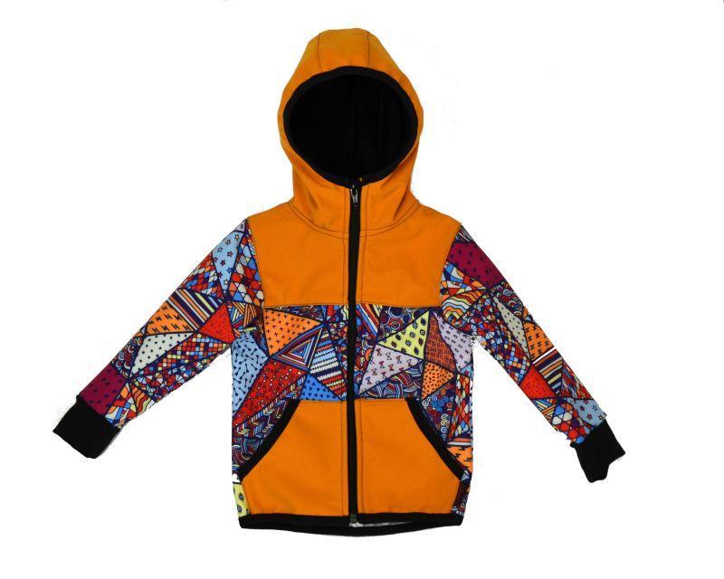 Softshellová bunda medová/bl. trojuholníkyí zimná, veľ.122-134