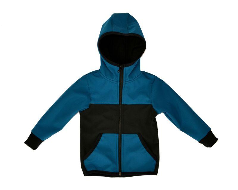 Softshellová bunda petrolej s čiernou zimná. veľ. 140-152