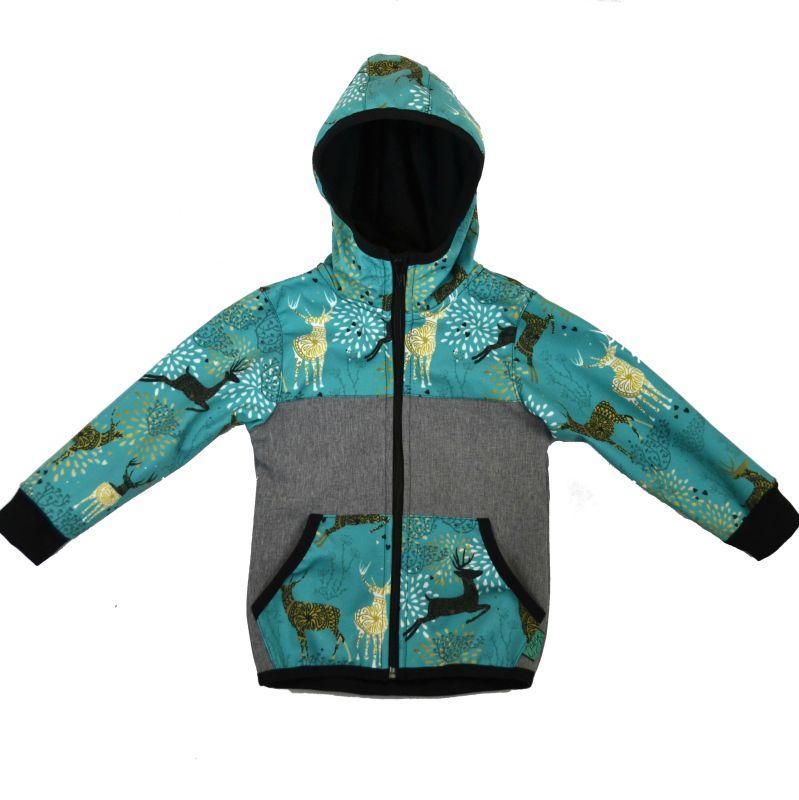 Softshellová bunda šedá s jeleňmi zimná, veľ. 122-134
