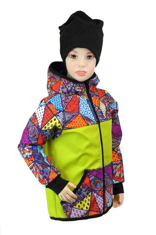 Detská bunda - bambusový softshell - limetka/bláznivé trojuholníky, veľ. 122-134