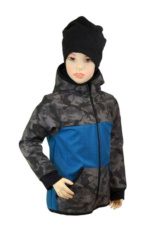 Detská bunda - bambusový softshell - petrolej/šedý maskáč, veľ. 140-152