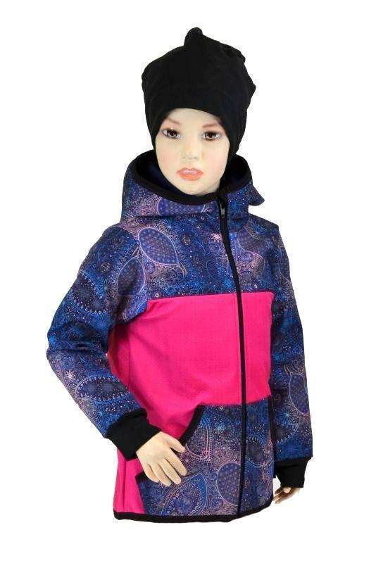 Detská bunda - bambusový softshell - ružová/modrá obloha, veľ.122-134