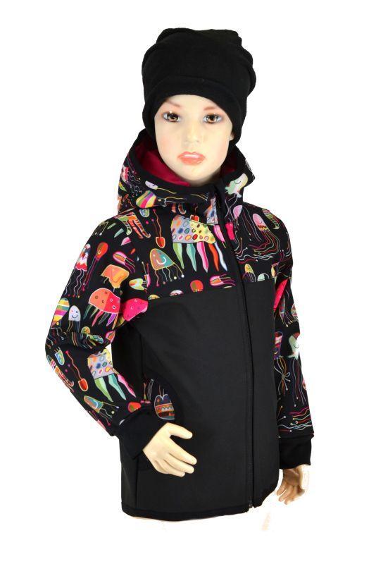 Dětská softshellová bunda - čierna/meduzy, veľ.140-152