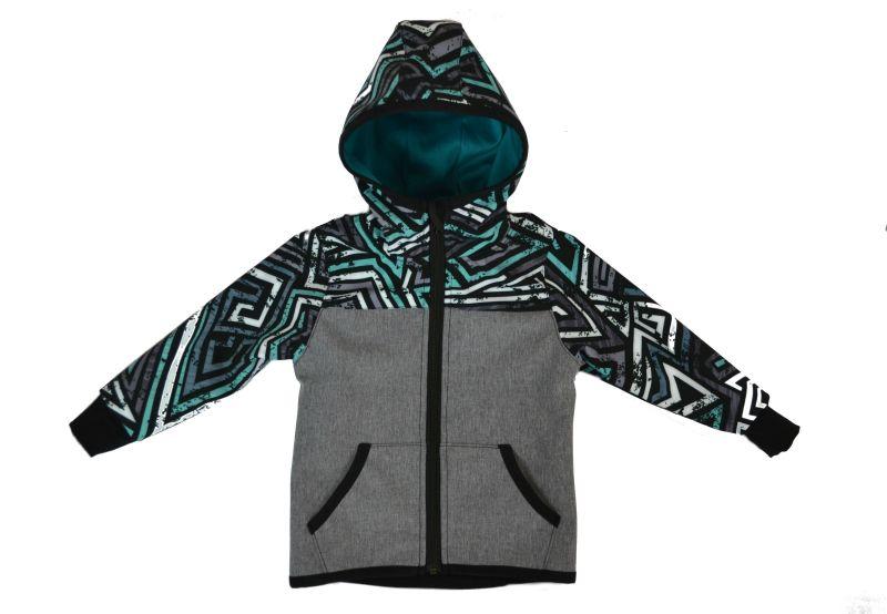 Softshellová bunda šedá s grafitmi, veľ. 140-152