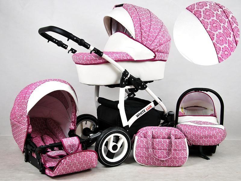 Detský kočík Rafpol White Lux - Dark Pink (3-kombinácia)