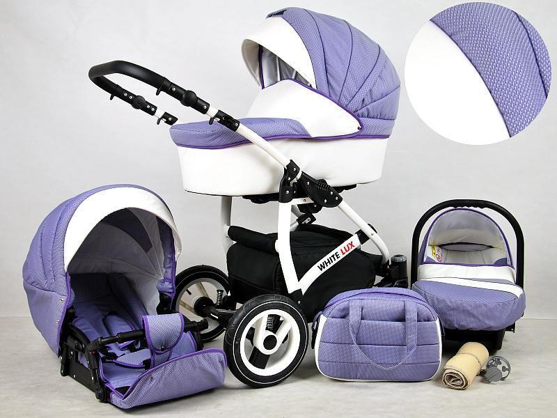 Detský kočík Rafpol White Lux -Lavender (3-kombinácia)