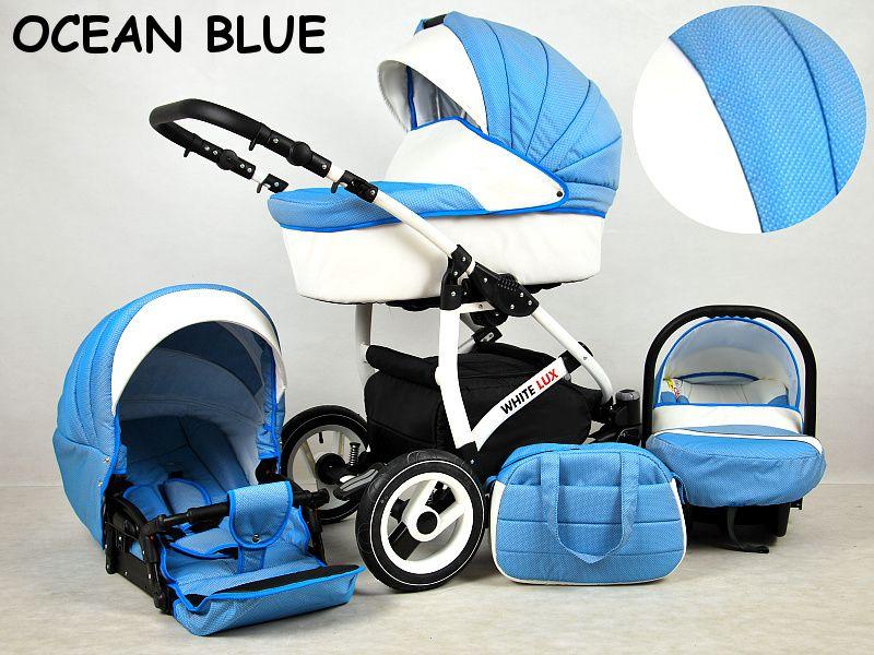 Detský kočík Rafpol White Lux - Ocean Blue (3-kombinácia)