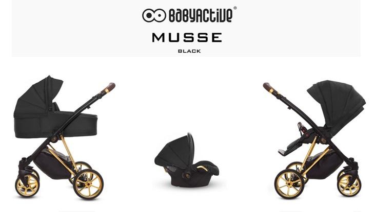 Detský kombinovaný kočík Baby Active Musse Ultra - Black (3-kombinácia)