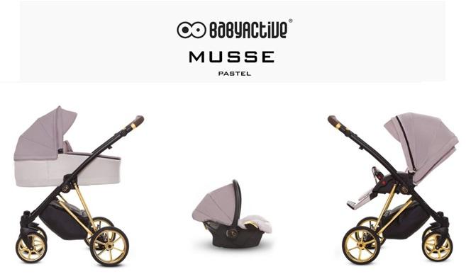 Detský kombinovaný kočík Baby Active Musse Ultra - Pastel (3-kombinácia)