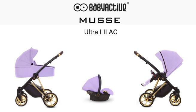 Detský kombinovaný kočík Baby Active Musse Ultra - Lilac (3-kombinácia)