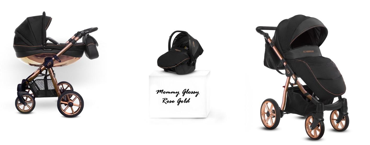 Detský kombinovaný kočík Baby Active Mommy Glossy Black - Rose Gold (3-kombinácia)