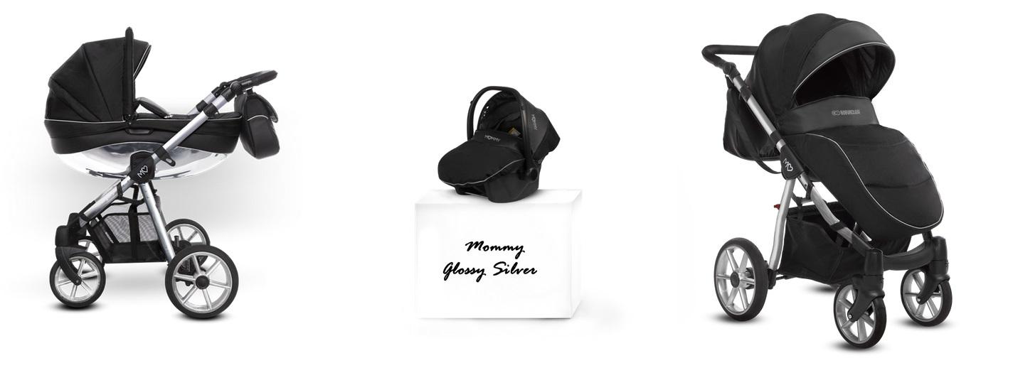 Detský kombinovaný kočík Baby Active Mommy Glossy Black - Silver (3-kombinácia)