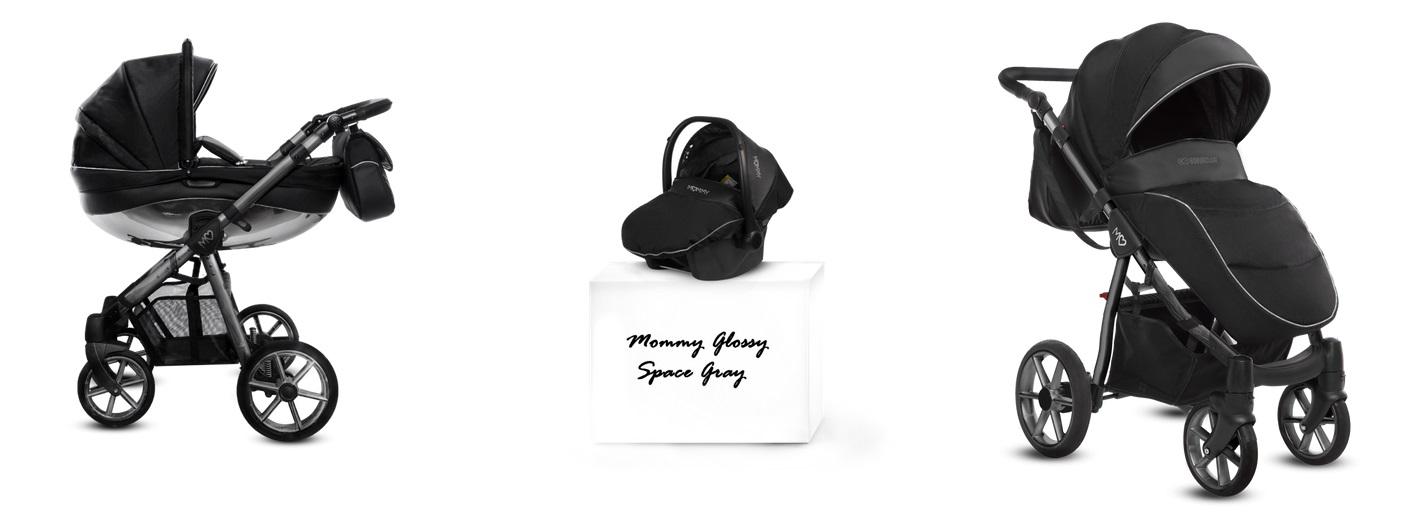 Detský kombinovaný kočík Baby Active Mommy Glossy Black - Space Gray (3-kombinácia)