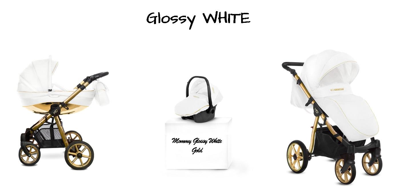 Detský kombinovaný kočík Baby Active Mommy Glossy White - Gold (3-kombinácia)