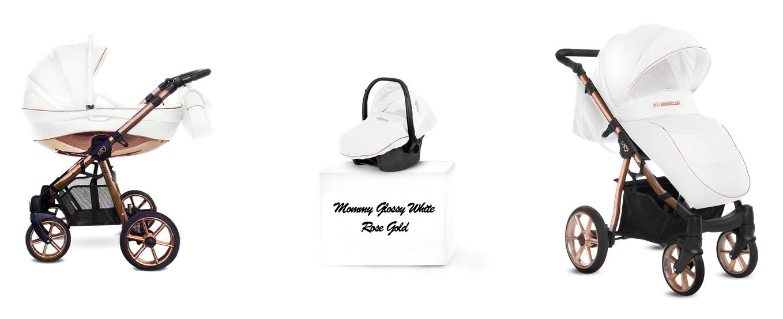 Detský kombinovaný kočík Baby Active Mommy Glossy White -Rose Gold (3-kombinácia)