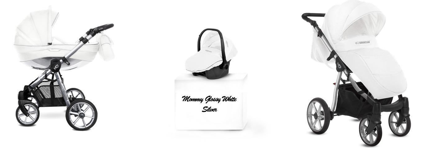 Detský kombinovaný kočík Baby Active Mommy Glossy White -Silver (3-kombinácia)