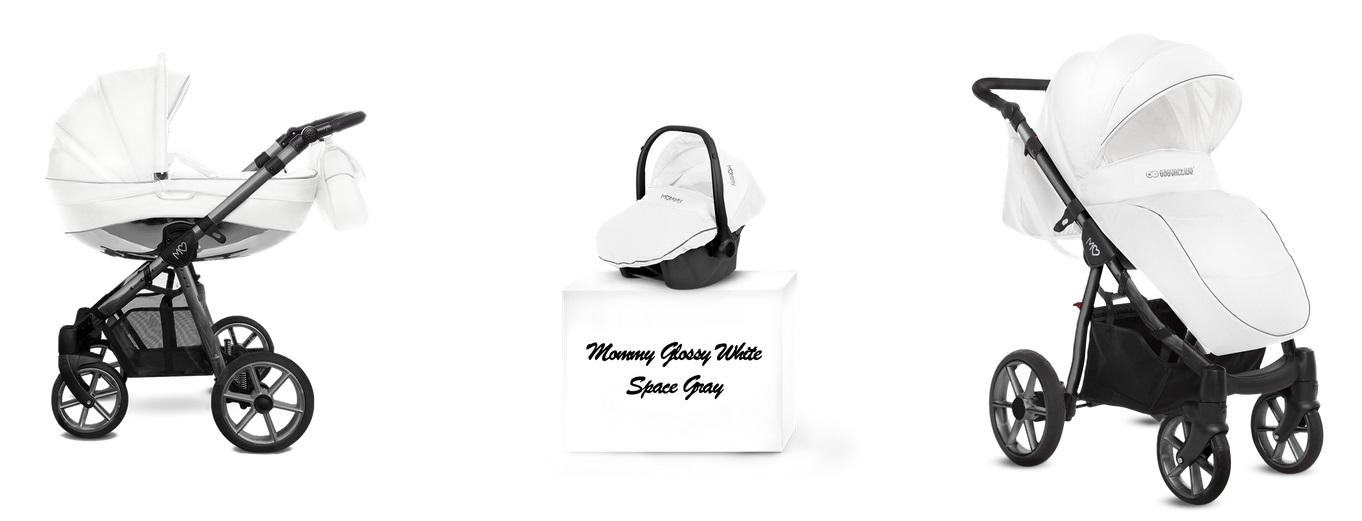 Detský kombinovaný kočík Baby Active Mommy Glossy White -Space Gray (3-kombinácia)